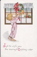 Boy Blowing Horn Wearing Pajamas, Winter Scene, Just To Wish  You The Merriest Christmas Ever!, PU-1916 - Christmas
