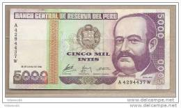 Peru - Banconota Circolata Da 5000 Intis P-137 - 1988 #18 - Perù