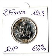 2 FRANCS SEMEUSE ARGENT 1913    SUP