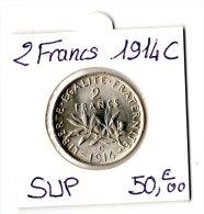 2 FRANCS SEMEUSE ARGENT 1914C  SUP