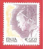 ITALIA REPUBBLICA USATO - 2003 - Donne Nell´arte - Ritratto Di Donna Di Piero Della Francesca - €  0,03 - S. 2723 - 6. 1946-.. Repubblica
