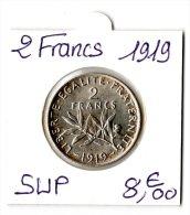 2 FRANCS SEMEUSE ARGENT 1919  SUP