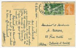 FRANCE TYPE SEMEUSE  SUR CARTE POSTALE OBL DAGUIN GRANDE SEMAINE DE TOURS INDRE ET LOIRE RARE - Postmark Collection (Covers)