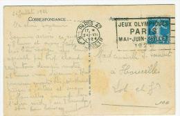 FRANCE TYPE SEMEUSE  SUR CARTE POSTALE  OBL JEUX OLYMPIQUES PARIS  DE PARIS R  LA BOETTIE - Summer 1924: Paris