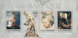 TOGO 2013 BAROQUE ART REMBRANDT BERNINI PETER PAUL RUBENS CARAVAGGIO S/S MNH - Unclassified
