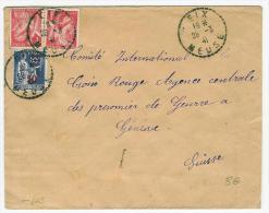 FRANCE TYPE PAIX  IRIS SUR LETTRE POUR LA CROIX ROUGE  A GENEVE AVEC CENSURE - Marcophilie (Lettres)