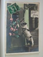 BONNE ANNEE - CHIEN MONTEE SUR BANC DEVANT SA MAITRESSE (EDITION J.C. PARIS) - Hunde