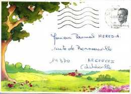 Enveloppe Obliteration Mecanique  De Mr Fallais A Landenne Belgique Adressé A Mr Heredia Pascual A Argences 14 - Postmarks - Lines: Distributions