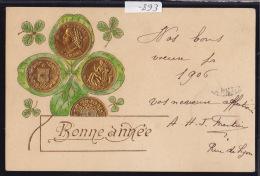 10 Et 20 Francs Or - Vreneli Dorure Et Gaufrage Pour Vœux De Bonne Année - Vers 1900 (-893) - Monnaies (représentations)
