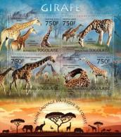 tg13220a Togo 2013 Fauna Giraffe s/s Lion Elephant Giraffes Rhinoceros Flamingo Bird Deer