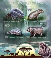 tg13221a Togo 2013 Fauna Hippo Hippopotamus/s Lion Elephant Giraffes Rhinoceros Flamingo Bird Deer