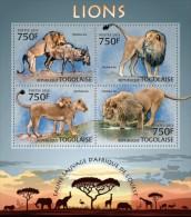 tg13222a Togo 2013 Fauna Lions s/s Lion Elephant Giraffes Rhinoceros Flamingo Bird Deer