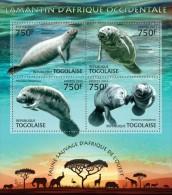 tg13223a Togo 2013 Fauna West African manatee s/s Lion Elephant Giraffes Rhinoceros Flamingo Bird Deer