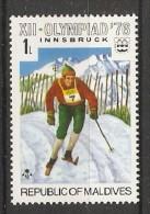 Maldives  1976  Winter Olympics, Innsbruck  1L  (**) MNH - Maldiven (1965-...)