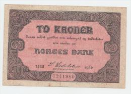 Norway 2 Kroner 1922 VF++ RARE P 14b  14 B - Noruega