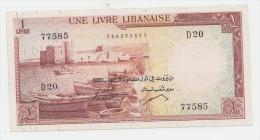 Lebanon 1 Livre 1961 VF++ P 55 - Liban