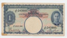 Malaya 1 Dollar 1941 VF Banknote KGVI P 11 - Malaysia