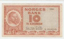 "NORWAY 10 KRONER 1961 ""F+"" P 31c - Norway"