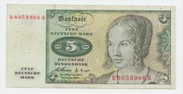 GERMANY 5 MARK 1960 VF P 18 - [ 7] 1949-… : RFA - Rep. Fed. De Alemania