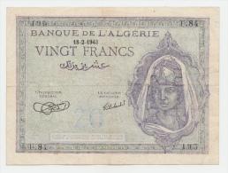 Algeria 20 Francs 1943 VF+ CRISP Banknote P 92a 92 A - Algeria