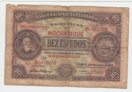 MOZAMBIQUE PORTUGAL 10 ESCUDOS 1941 G-VG P 84 - Mozambique
