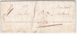LAC De Carpentras (84) Pour L´Isle-sur-la-Sorgue (84) - 1er Mai 1839 - Sans Marque Postale - Marcophilie (Lettres)