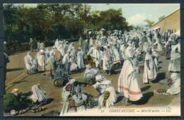 1906 Algeria Constantine Market Postcard - Sweden - Grand Hotel Cachet - Constantine