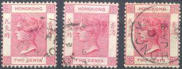 Hongkong, Mi.Nr. 35 Gestempelt, Viktoriabüste, 3 Stück 2 C, Verschiedene Farben - Hong Kong (1997-...)