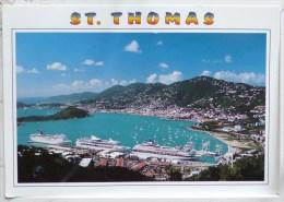 Iles Vierges St Thomas Charlotte Amalie Le Port  Bateau Croisiere Voyagé Cachet  Timbre Grenadines Poisson - Jungferninseln, Amerik.
