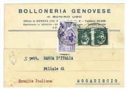 ITALIA REGNO - INTERESSANTE CARTOLINA DELLA BOLLONERIA GENOVESE -  VIAGGIATA NEL 1935 AFFRANCATURA MISTA - Marcofilía