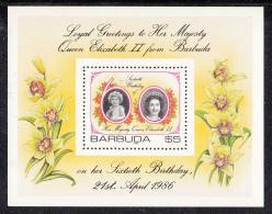 Barbuda MNH Scott #782 Souvenir Sheet $5 Portraits Of Queen Elizabeth II - 60th Birthday - Antigua Et Barbuda (1981-...)