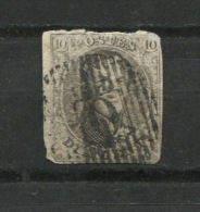 Belgium 1851 Sc 6a Used Ribbed Paper Cv $62.50 - 1851-1857 Medallions (6/8)