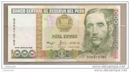 Peru - Banconota Circolata Da 1000 Intis P-136b.2 - 1988 - Perù