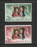 ST. HELENA, 1972, Stamps MNH, Silver Jubilee, Nrs. 258-259 - Sint-Helena
