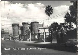 1955 NAPOLI VIA S. CARLO E MASCHIO ANGIOINO FG V SEE 2 SCAN ANIMATA FILOBUS TARGHETTA - Napoli