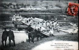 54 - AINGERAY - MANOEUVRES DU 1er GENIE - CONSTRUCTION D'UN PONT SUR LA MOSELLE - France
