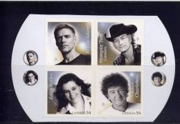 Canada 2009, #2334a-d, MNH,  CANADIAN RECORDING ARTISTS MNH  4 STAMPS FROM BOOKLET - Carnets