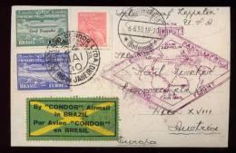 Brazil Brasilien 1930 Zeppelin Mi# 3 + 4 Mixed Franking - Airmail (Private Companies)