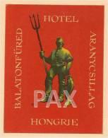 HUNGARY ♦ ARANYCSOLLAG ♦ BALATONFÜRED HOTEL HONGRIE ♦ VINTAGE LUGGAGE LABEL ♦ 2 SCANS - Hotel Labels