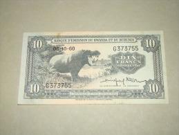 Rwanda - Burundi , 10 Francs , 05-10-1960 ,Beau Billet Pour Collection,collector - Rwanda
