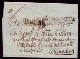 Lettre D'Alessandria ( Alexandrie ) Sans Texte Adressée Au Conte PULLINI Pour Chambéry - Documents Historiques