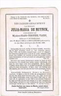 RUISELEDE - MEULEBEKE -  Doodsprentje Van  Julia-Maria DE MUYNCK + 1888 - Devotion Images