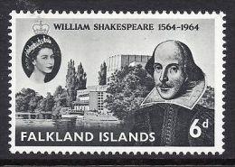 1964 Falkland Islands , 400th Birth Anniversary Of Shakespeare , Writer 1v. Michel 144  MNH - Scrittori