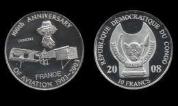 CONGO . 100éme ANNIVERSAIRE DE L'AVIATION .  10 FRANCS . 2008 . - Congo (République 1960)
