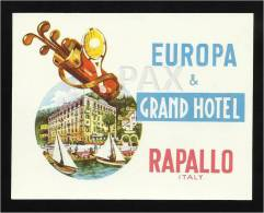 ITALY ♦ RAPALLO ♦ EUROPA & GRAND HOTEL ♦ ITALIA ♦ VINTAGE LUGGAGE LABEL ♦ 2 SCANS - Hotel Labels