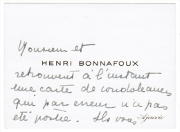 HENRI BONNAFOUX AJACCIO ( CORSE ) - Cartes De Visite