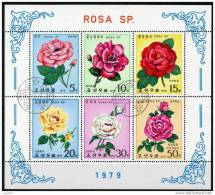 X DPRK KOREA COREA FOGLIETTO ROSA SP 1979 - Rose