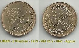LIBAN - 5 Piastres - 1972 - KM 25.2 - UNC - Agouz - Lebanon