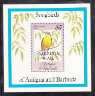 Barbuda MNH Scott #664 Souvenir Sheet $5 Yellow-breasted Chat Overprinted Barbuda Mail - Songbirds Of Antigua & Barbuda - Antigua Et Barbuda (1981-...)