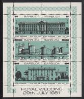 Barbuda MNH Scott #594 Sheet Of 6 With Surcharges Buckingham Palace, Caernarvon Castle, Highgrove House - Royal Wedding - Antigua Et Barbuda (1981-...)